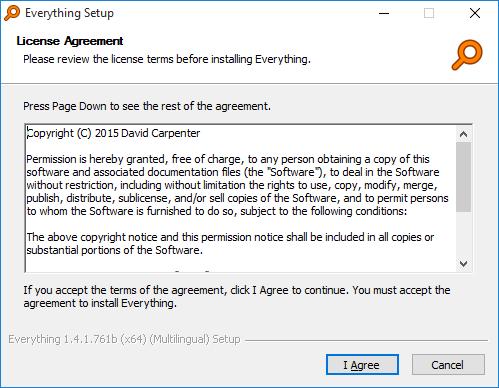 Everything Installer License Agreement